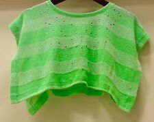 JUSTICE Striped Green Butterfly Style Rhinestone Shirt Girls Size 6