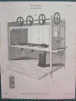 1809 Datato Antico Stampa ~ Meccanico Carbone Misura Apparato