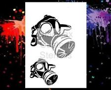 WWI Gas Mask Set Airbrush Stencil,Template