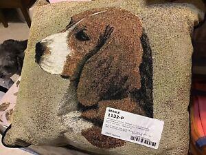 Cotton & Linen Dog Pillow - Beagle - 100% cotton made in USA