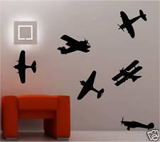 6x GUERRE AVIONS Art mural autocollants chambre d'ENFANT Décalcomanie