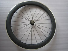 Rear 60mm clincher carbon bicycle wheel with alloy brake surface 23mm width