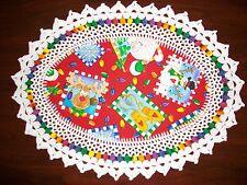 New Handmade Oval Crochet Doily: Whimscal Christmas/Reindeer/Snowman/Mittens