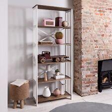Bookshelf Tall Bookshelves Shelving Unit in White & Dark Pine Canterbury