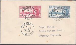 GRENADA 1947 cover to UK - scarce CONCORD village cds......................54745