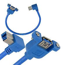 Montaje del panel USB 3.0 Hembra A Macho Tipo B Enchufe de ángulo recto Cable de impresora en Azul