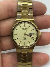 Rare Men's Gold Tone Seiko Quartz Royal Oak 6923-7070 SQ100 Day Date Spanish Eng