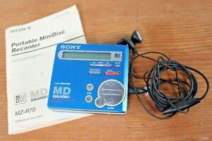 Sony MZ-R70 Personal MiniDisc MD Walkman Mini Disc Player, Manual & Headphones