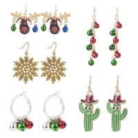 1Pair Women Christmas Earrings Enamel Crystal Drop Dangle Ear Stud Ear Hook