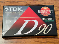 1 NIP New Sealed TDK D90 Blank Cassette Tape High Output IECI Type 1 90 Minutes