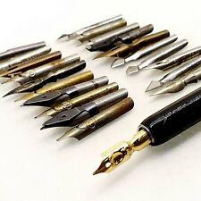 SCHULER 20 mixed nibs LOT calligraphy dip ink nib pen Vintage 1940's antique 2