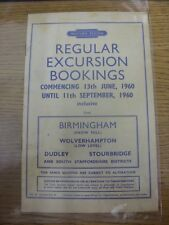 13/06/1960 Railway Handbill: Western Region - Regular Excursion Bookings from Bi