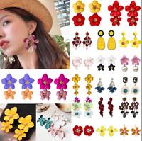 Fashion Long Flowers Earrings Women Crystal Water Drop Dangle Ear Stud Jewelry