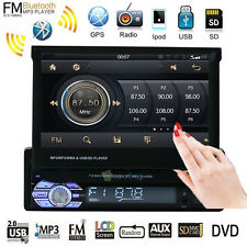 "Single 1 Din 7"" GPS Flip Car Stereo Radio FM MP3/5 Player Touch Screen USB Audio"