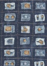 Classic Cottons Fabric - Ted Bear Denim - Jeans Pockets - 2.60 yards vintage