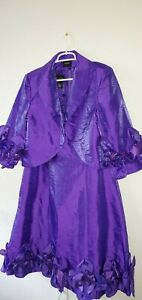 Ashro Purple 2pc Dress Suit w Ruffled Flower Bottom and Sleeves
