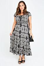 Kleid Gr.44 Maxikleid Pailletten Schulterfrei Damen schwarz lang Carmenkleid