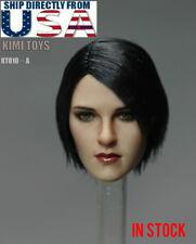 1/6 Female Head Sculpt Short Black Hair KIMI KT010 A For Hot Toys Phicen U.S.A.