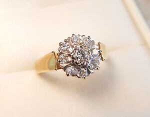 18ct YELLOW GOLD and DIAMOND ROUND CLUSTER RING SIZE J 1/2, ANTIQUE,ENGAGEMENT