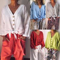 Boho Womens Long Sleeve Casual Linen Kaftan Ladies V Neck Blouse Tee Shirt Tops