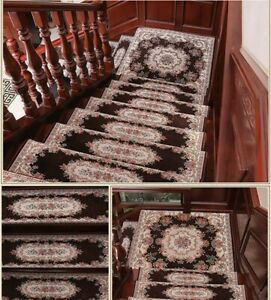 Elegant Floral Self-adhesive Stairs Carpet Non-Slip Rug Stair Treads 32''X 9.5''
