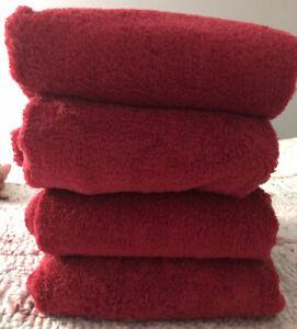 """Ralph Lauren Bath Towels Set of 4 30"""" x 55"""" Red"""