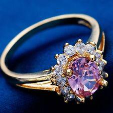 Nice Oval Cubic Zircon Gold Filled Women Ladies Wedding Jewelry Rings