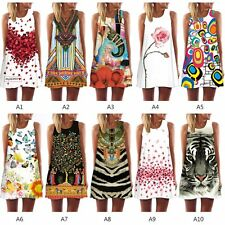 Women Summer Beach Retro Floral Sleeveless Party Dress Casual Loose Mini Dresses