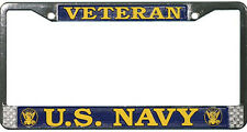 US NAVY VETERAN HIGH QUALITY METAL LICENSE PLATE FRAME - MADE IN THE USA!!