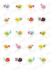 20 Nail Transfers Decals *Summertime COLORFUL BIRDS* Waterslide Nail Art Decals