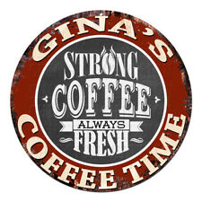 CWCT-0213 GINA'S COFFEE TIME Chic Tin Sign Decor Gift Ideas