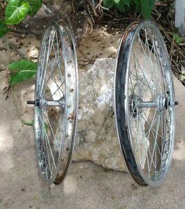 "Old School Mongoose BMX 20"" Chrome Wheel Set Schwinn, Hutch, gt"