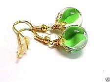 Handmade, Green Cat's Eye Glass Marble Earrings Gold French Hooks, W/Gift Box!