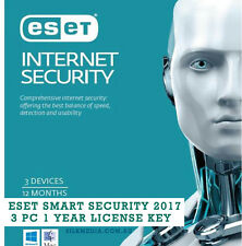 NEW ESET Internet Security 2017 For All Windows - 3 Device 1 Yr License Key Only