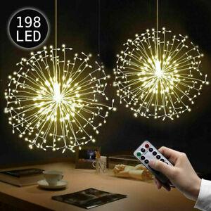 198 LED Feuerwerk Lichterkette Batterie Weihnachtsdeko Außen Innen Garten*