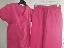 Expo scrubs set Unisex 2 piece Top and Bottom Color: Hot Pink size: 1Xl
