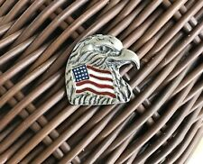 USA. AMERICAN 2 BALD EAGLE PEWTER PINS With FLAG ALL New SYMBOL OF UNITED STATE