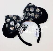 Disney Interchangeable Swap Your Bow Minnie Ears Headband Black Silver Sequins