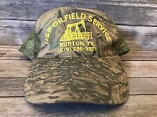 Vintage H & P Oilfield Service Burton Texas TX Camoflouge Trucker Hat Snapback
