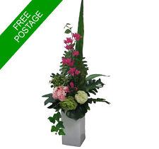 Artificial Flower Arrangement-Green and Pink- Tall Vase Arrangement- Decor/ Gift