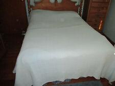 "Vintage 100% Cotton Thermal Blanket queen/full 84"" x 100"" Baby Blue Block Design"