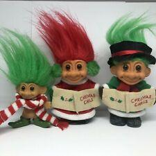 Christmas Trolls Lot of 3 Russ Red Green Carolers Earmuffs