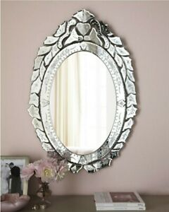 "NEW DESIGNER LARGE 30"" VICTORIAN Etched Bevel OVAL Vanity Wall VENETIAN Mirror"