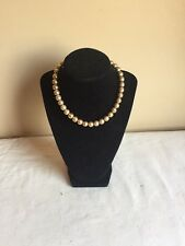 Vintage Gold Metal Beaded Tarnished Women's Fashion Jewelry Necklace