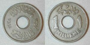 Hole in Center Copper Nickel One Year Type Egypt Coin 1 Millieme King Frouk XF++