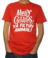 Merry Christmas Ya Filthy Animal Funny Festive Season Santa Mens New Red T-Shirt