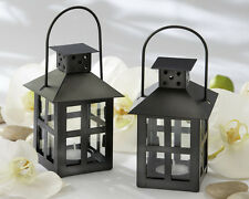 12 Luminous Black Lanterns Tea Light Candle Holder Wedding Favors Lot Q31695