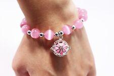 Pink Essential Oils Bracelet Silver Flower Locket Charm Pink Beaded Diffuser