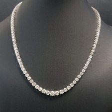 Clearance..! 11.78 CT Round Diamond Graduated Necklace, Hallmarked White Gold