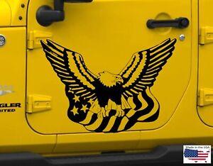 American Eagle Flag Hood Door Vinyl Decal Racing Stripes Fits Trucks Jeep Ram